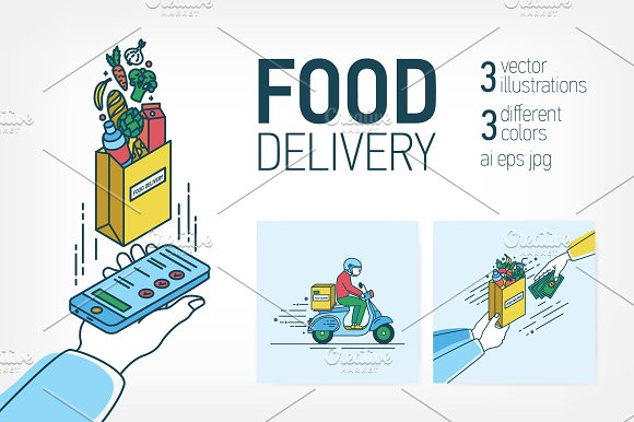 Several Stages Of Food Delivery