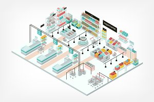 Isometric supermarket interior