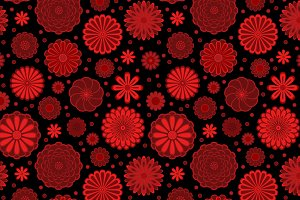 Dark red flowers seamless pattern