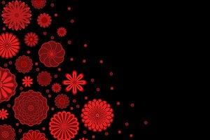 Dark red flowers on black template