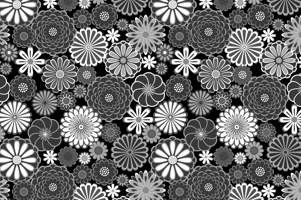 Black And White Flowers Pattern Custom Designed Graphic Patterns