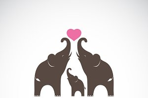 Vector of family elephants. Animal