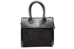 ladies suede bag of black color