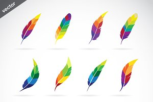 Vector group of feathers icon design