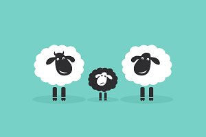 Vector of family sheep. Difference.