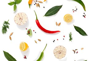 Colorful spices and herbs, top view
