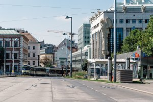 Tramway in Karlsplatz in Vienna