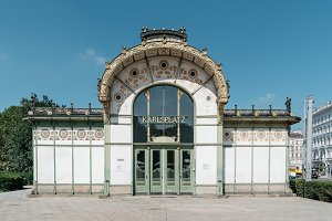 Subway entrance and Art Nouveau pavilion at the Karlsplatz in Vi