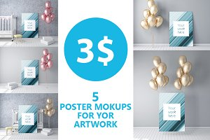 Poster mockups with balloons