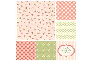 Set of cute seamless Shabby Chic patterns with roses, polka dot and plaid