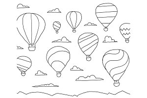 Balloon hot air aeronautics unpowered aerostat in the sky. Flight on a balloon in the clouds. Fantasy and success. Hand drawn