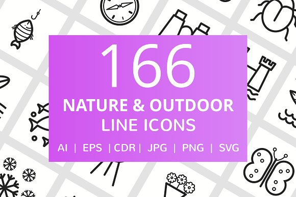 166 Nature & Outdoor Line Icons