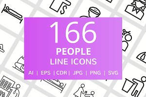 166 People Line Icons