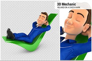 3D Mechanic Relaxed on a Check Mark