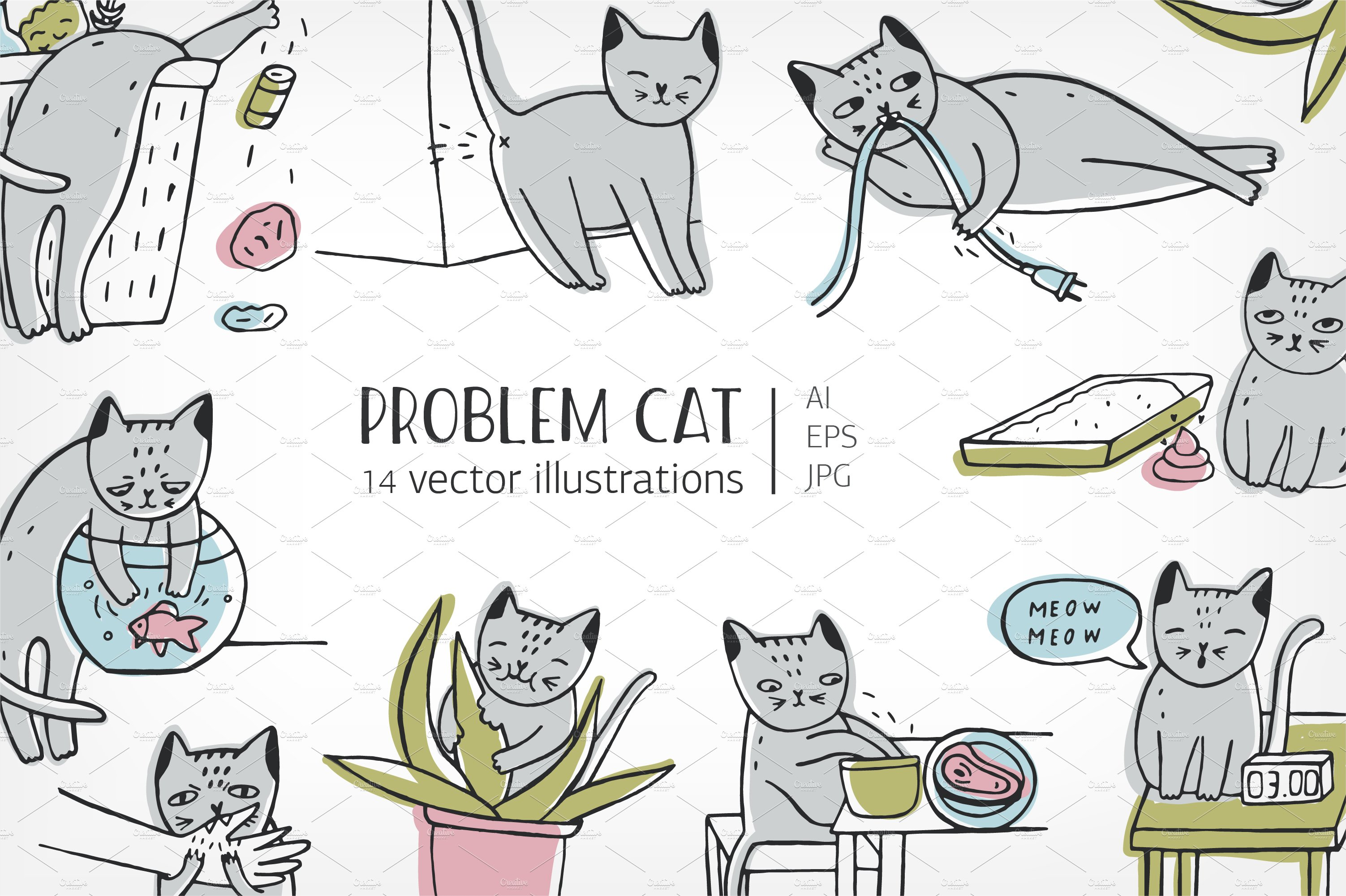 Set of problem with cat behavior ~ Illustrations ~ Creative Market