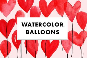 15 Watercolor Balloon PNG + Vector