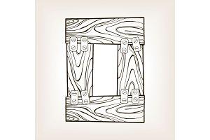 Wooden number 0 engraving vector illustration