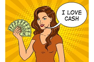 Young woman with cash dollars pop art vector