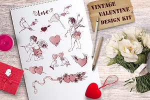 Vintage Valentine design kit