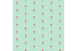 Cute seamless Shabby Chic pattern with roses and polka dots
