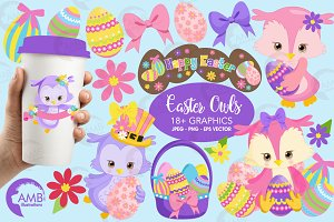 Easter Clipart, Owl Clipart AMB-1818