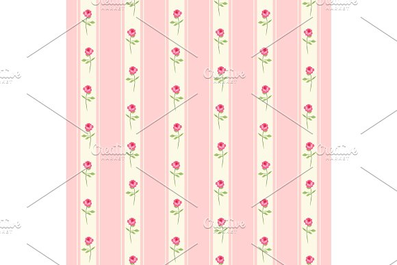 Cute seamless Shabby Chic pattern with roses and stripes