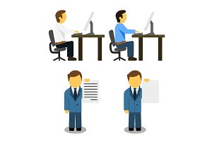 Man at work icon vector illustration