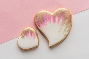 glazed heart shaped cookies