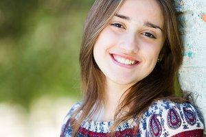Portrait of pretty teenager smiling