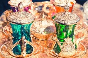 Colorful arabic tea coffee set