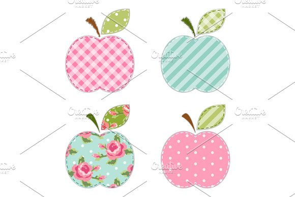 Fabric retro applique of cute apples with green leaf