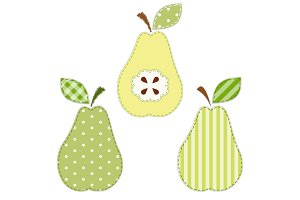 Set of cute pears as retro fabric applique