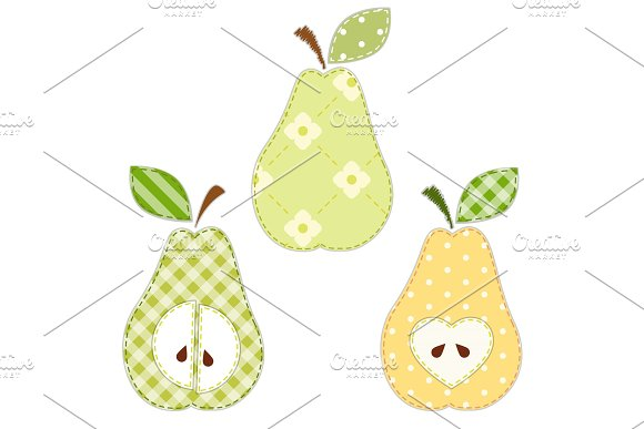 Set of cute pears as retro fabric applique