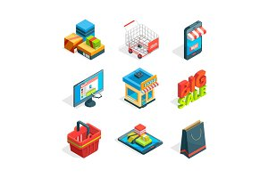 Isometric icon set of online shopping. Symbols of ecommerce. Buying in internet