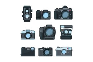 Dslr photo cameras. Vector set in cartoon style