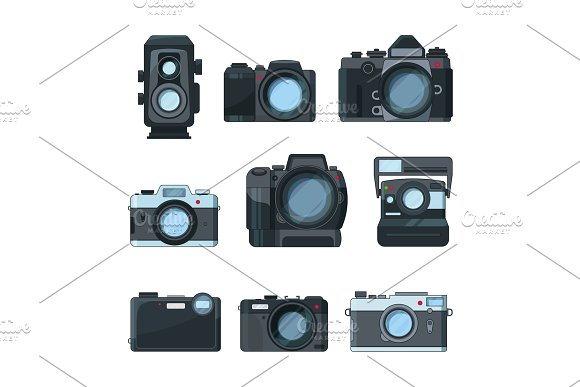 Dslr photo cameras. Vector set in cartoon style