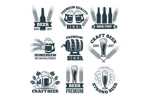 Labels or badges set of beer. Elements for emblem or logo design