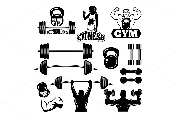 Badges and labels for gym and fitness club. Sport symbols in monochrome style