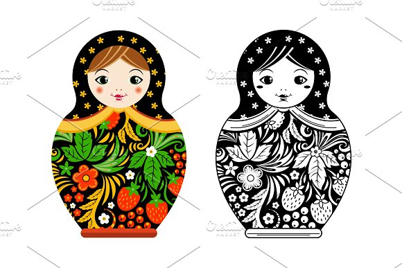 Retro russian doll. Matryoshka painted at khokhloma style. Vector linear and colored pictures