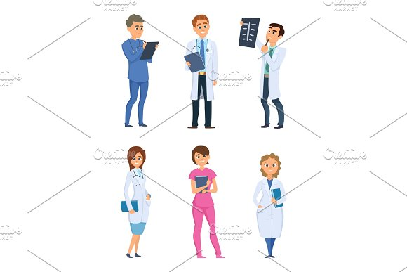 Medic nurses and doctors. Healthcare characters in different poses in Graphics