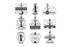 Illustrations and labels set of different hookahs. Lounge smoking