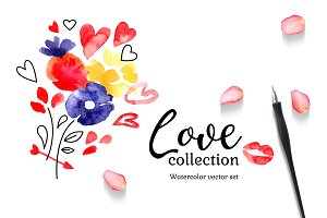 Watercolor Vector Love Set