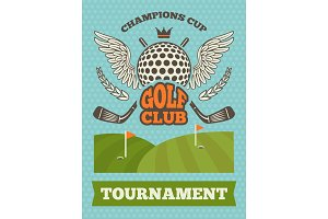 Vintage poster for golf tournament. Vector illustration