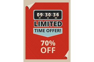 Advertise poster with countdown clock and some text about sales. Vintage pictures in vector style