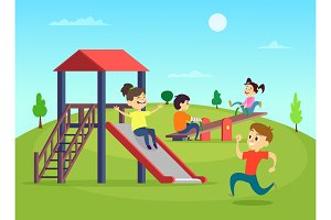 Funny playing kids on playground. Vector illustration