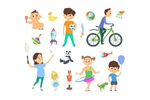 Children playing at different games and toys. Vector characters set in cartoon style