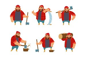 Lumberjack in different action poses. Vector funny character