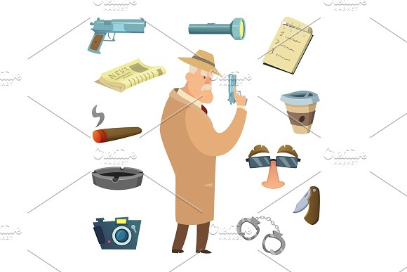 Different tools for detective. Vector icons in cartoon style