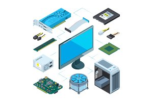 Isometric illustrations of computer hardware. Vector pictures set