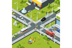 Wireless connection inside urban traffic. Illustration of crossroad in isometric style